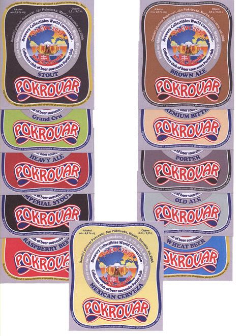 Pivní etikety - Sada pivních etiket vydaných k 1. celosvětovému setkání sběratelů pivních suvenýrů v Martině 2013 Domácím pivovarem Pokrovar. Sadu etiket bylo možné zakoupit na setkání.