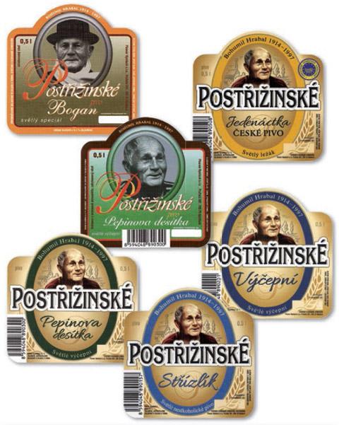 Pivní etikety s Bohumilem Hrabalem